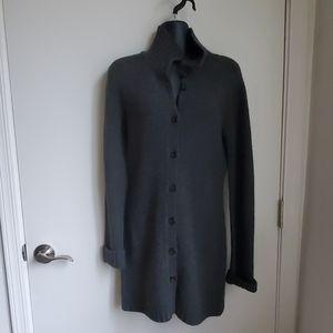 J. Crew Gray Wool Long Car Coat Style Sweater XS,